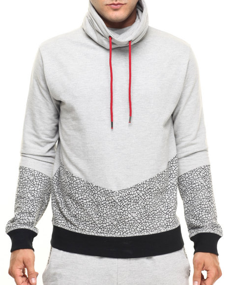 Buyers Picks - Men Grey Cut & Sew Crackle Pullover