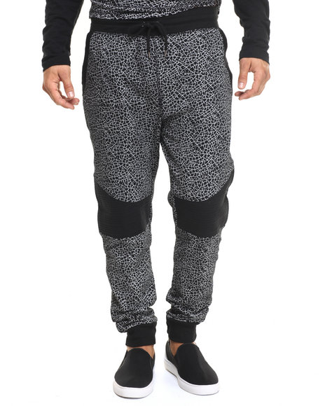 Buyers Picks - Men Black Moto Crackle Jogger