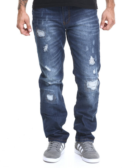 Ur-ID 224360 Winchester - Men Dark Wash California Rip & Repair Denim Jeans
