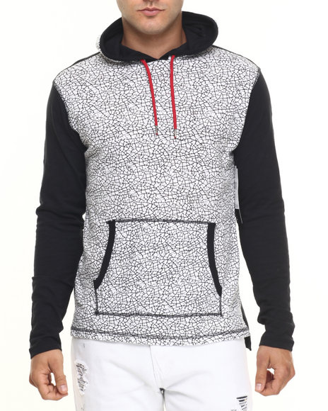 Buyers Picks - Men White Crackle Print Slub Jersey Hoodie