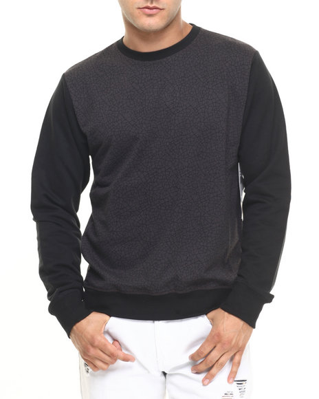 Buyers Picks - Men Black Cracked Crew Pullover - $52.00