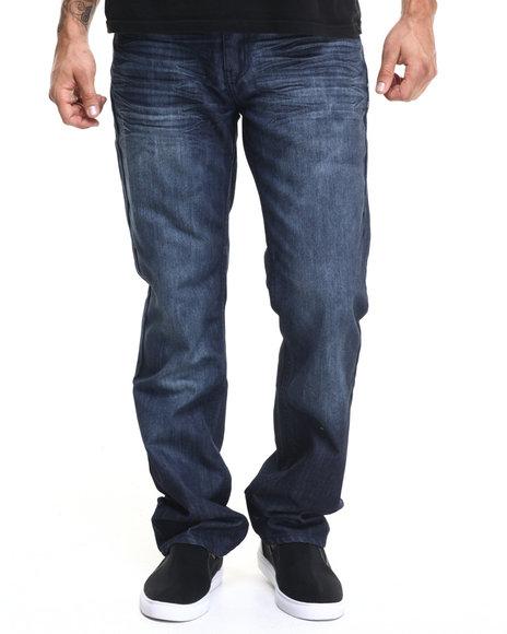 Basic Essentials - Men Dark Blue Mercerized Belted Denim Jeans