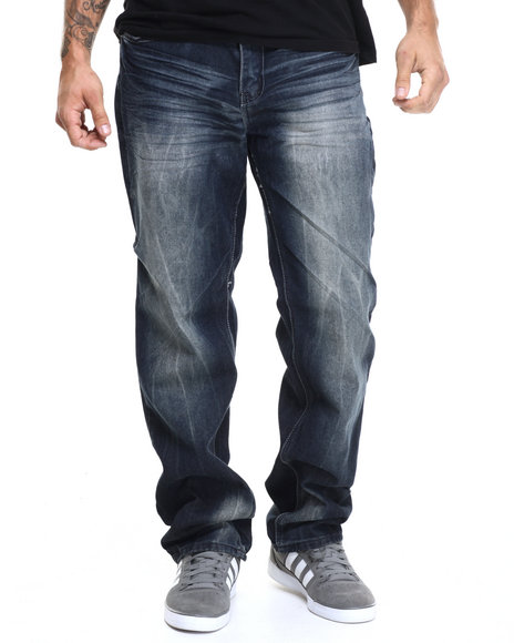 Basic Essentials - Men Dark Wash Chams Washed Denim Jeans