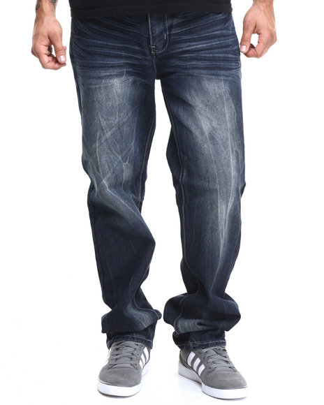Basic Essentials - Men Medium Wash Chevron Flap - Pocket Denim Jeans