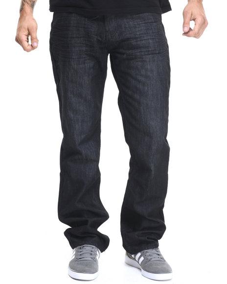 Basic Essentials - Men Black Mercerized Belted Denim Jeans