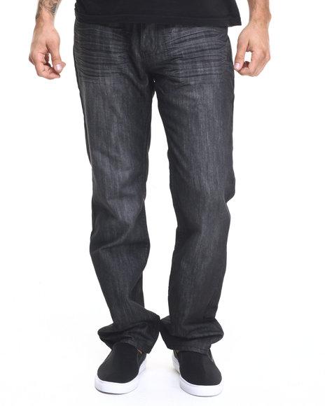 Basic Essentials - Men Charcoal Charcoal Mercerized Belted Denim Jeans