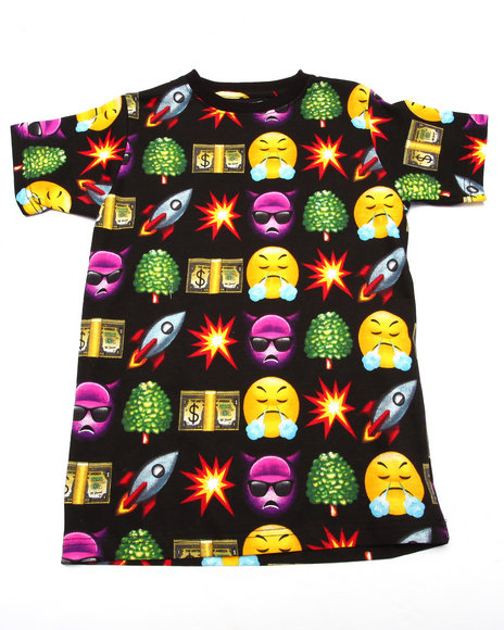 Arcade Styles - Boys Black Emoji Tee (8-20)