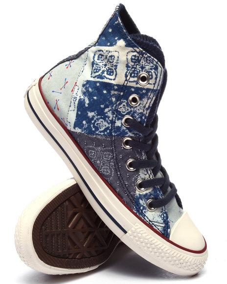 Converse - Women Navy Denim Bandana Print Chuck Taylor All Star Multi Panel Hi Sneakers - $48.99