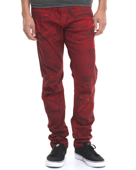 Ur-ID 224365 Buyers Picks - Men Maroon Waxed Twill Pants