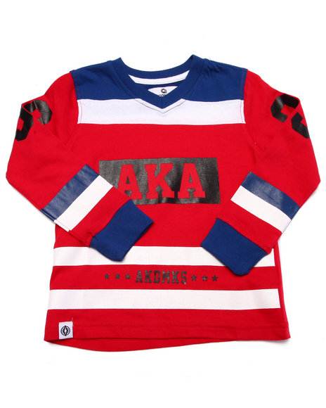 Akademiks - Boys Red L/S Cut & Sew V-Neck Tee (4-7)