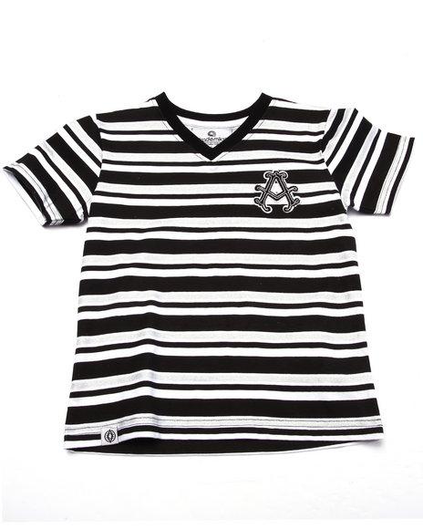 Akademiks - Boys Black Striped V-Neck Tee (4-7) - $6.99