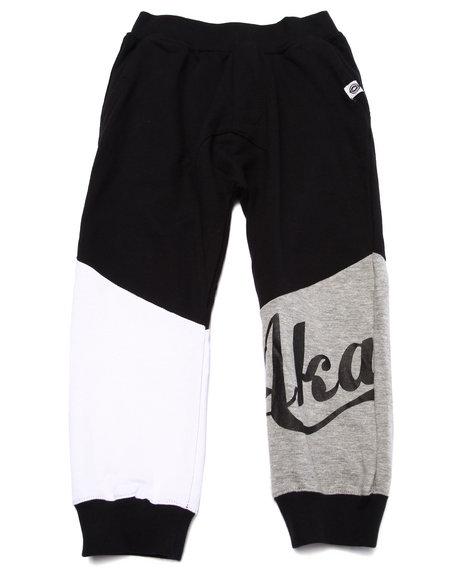 Akademiks - Boys Black Cut & Sew Drop Crotch Joggers (4-7)