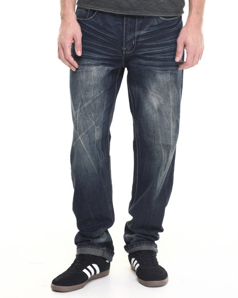 Basic Essentials - Men Medium Wash Chevron Flap - Pocket Denim Jeans