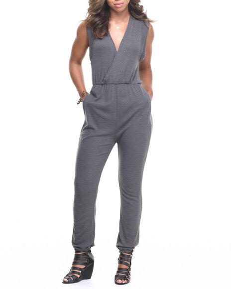 Fashion Lab - Women Charcoal Wrap Love Jumpsuit