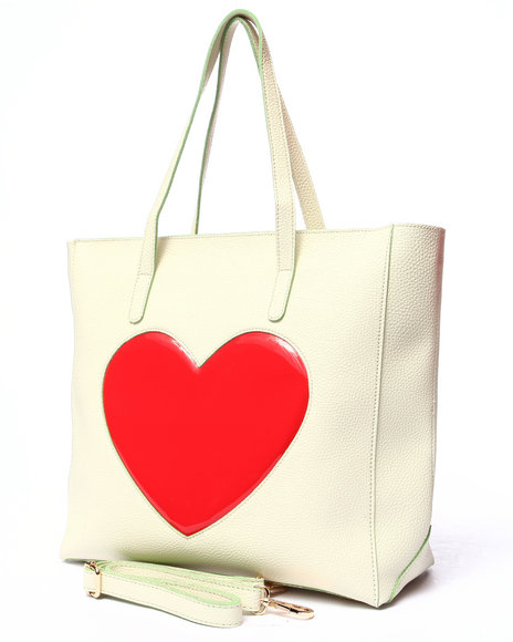 Pink Cosmo Women Pink Haley Pop Heart Tote Cream - $26.99