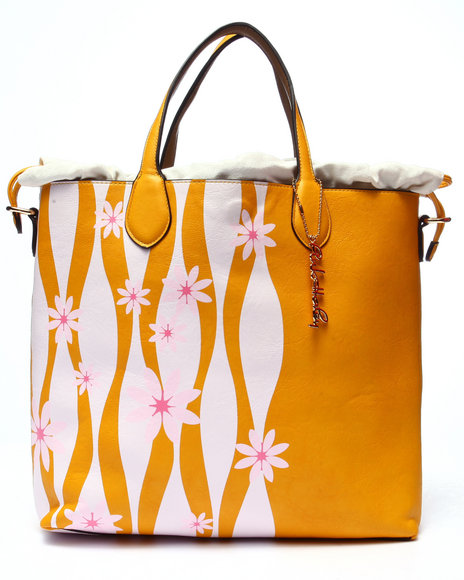 Pink Cosmo Women Pink Haley Emma Flower Reversible Tote Yellow