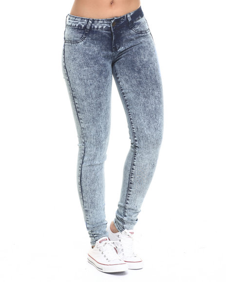 Basic Essentials - Women Medium Wash High Waisted Acid Wash Denim Jean