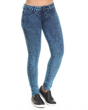 Women - High Waisted Acid Wash Denim Jean