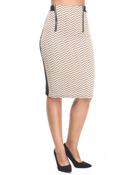 Fashion Lab - Women Beige,Black Taupe Ville Midi Skirt - $16.99