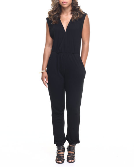Fashion Lab - Women Black Wrap Love Jumpsuit