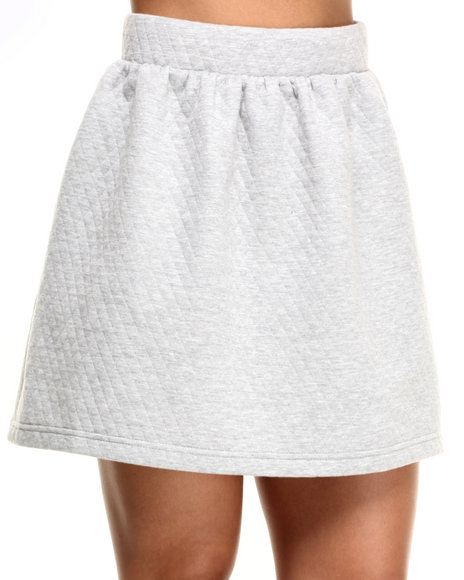 Freestyle Women Belle Quilted Knit Skirt Grey Large