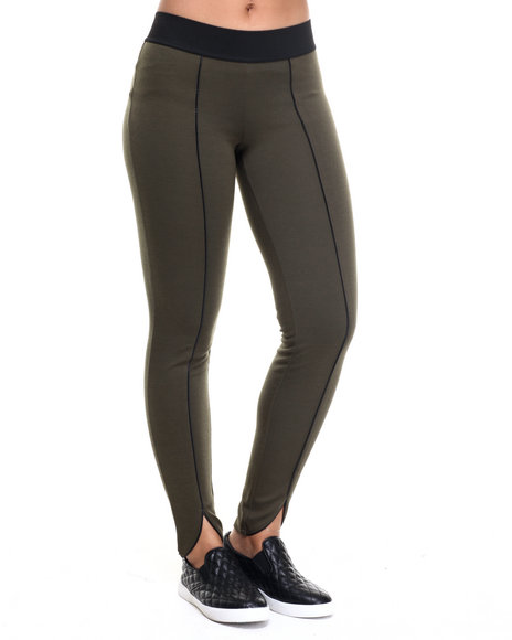 Freestyle - Women Olive Shanna Vegan Leather Piping Legging