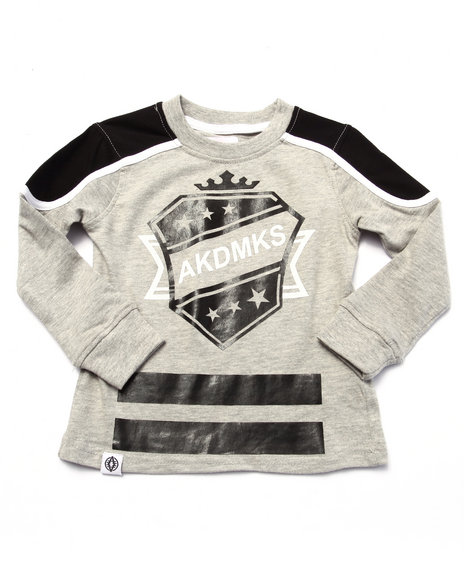 Akademiks - Boys Light Grey L/S Cut & Sew Hockey Tee (2T-4T)