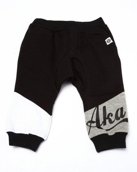 Akademiks - Boys Black Cut & Sew Drop Crotch Joggers (Infant)