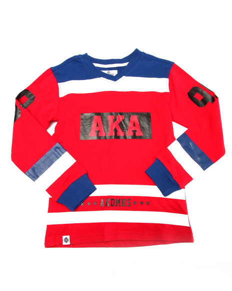 Akademiks - Boys Red L/S Cut & Sew V-Neck Tee (8-20)