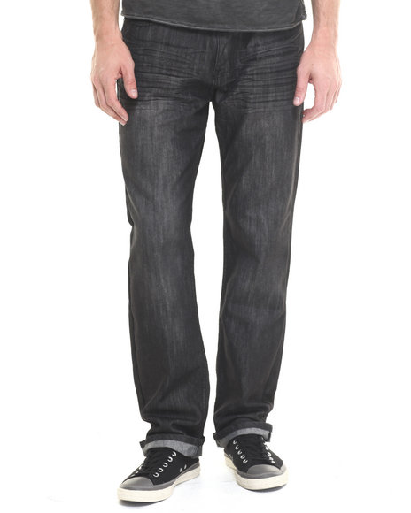Basic Essentials - Men Black Mercerized Belted Denim Jeans