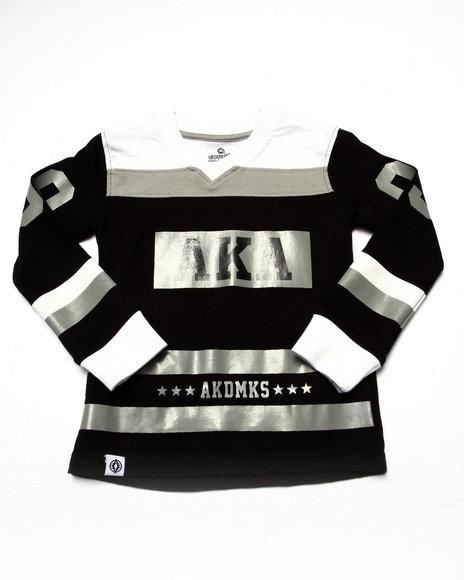 Akademiks - Boys Black L/S Cut & Sew V-Neck Tee (4-7)