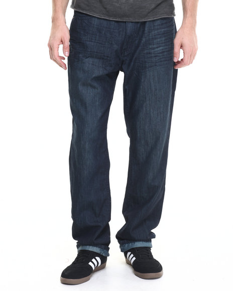 Basic Essentials - Men Dark Wash Green Tint Mercerized Belted Denim Jeans