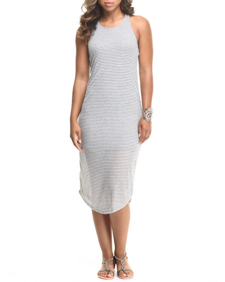 Fashion Lab - Women Grey Racerback Striped Maxi Dress