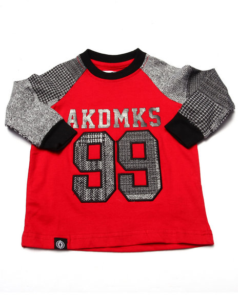 Akademiks - Boys Red L/S Plaid Raglan (Infant)