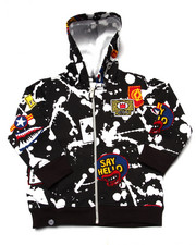 Hoodies - SPLATTER & PATCH FULL ZIP HOODY (2T-4T)