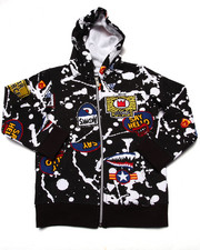 Hoodies - SPLATTER & PATCH FULL ZIP HOODY (4-7)