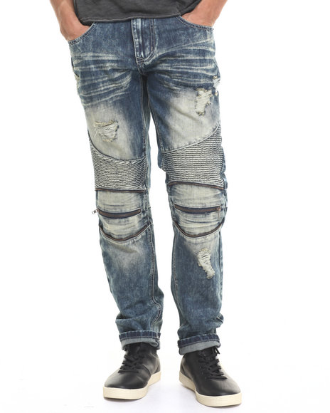 Buyers Picks - Men Dark Wash Biker - Style Denim Pants