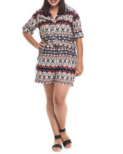 Jumpsuits - Tribal Print Shirt Romper (Plus)