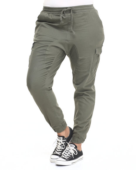 Ur-ID 224227 Almost Famous - Women Olive Gusset Cargo Pocket Twill Jogger (Plus)