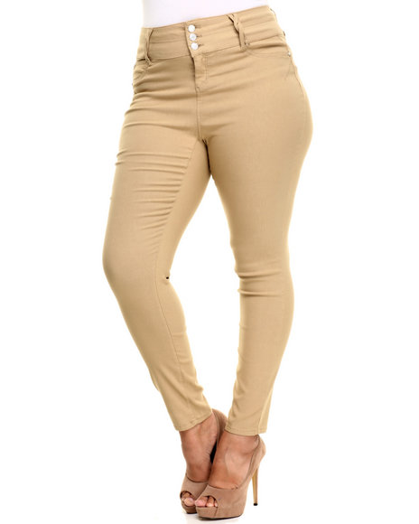 Ur-ID 224230 Almost Famous - Women Khaki 3 Button High Waist Skinny Jean (Plus)