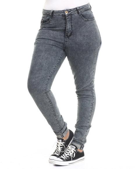 Basic Essentials - Women Black Plaid Detail Acid Black Denim Jean (Plus)