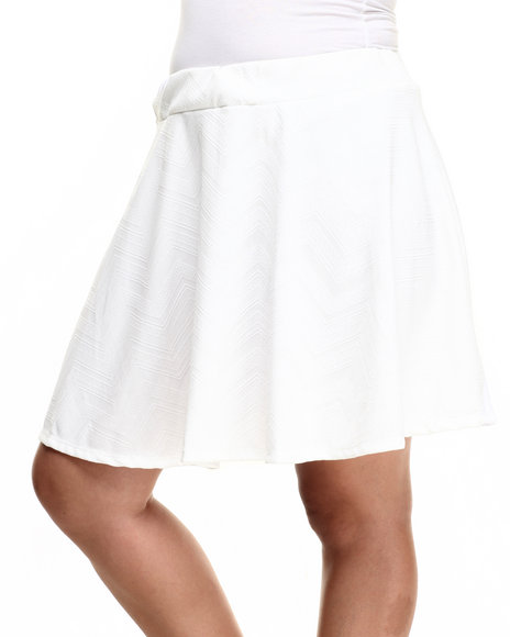 Fashion Lab - Women Ivory Ivory Skater Skirt (Plus)