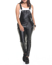 Women - Leatherette Strap Back Faux Leather Jumper (Plus)