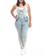 Basic Essentials - Denim Skinny Strap Overall (Plus)