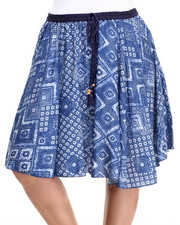 Bottoms - Tribal Print Skater Skirt (Plus)