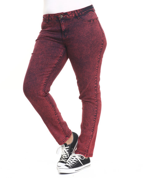 Basic Essentials - Women Dark Red High Waisted Acid Wash Denim Jean (Plus)