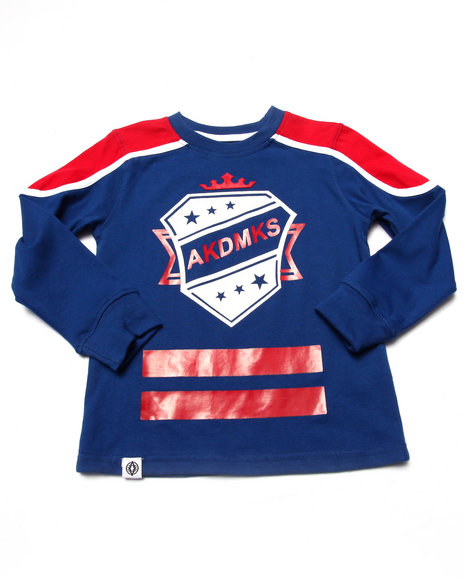 Akademiks - Boys Blue L/S Cut & Sew Hockey Tee (4-7)