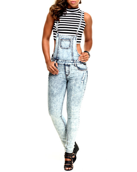 Basic Essentials - Women Blue Destructed Denim Overall