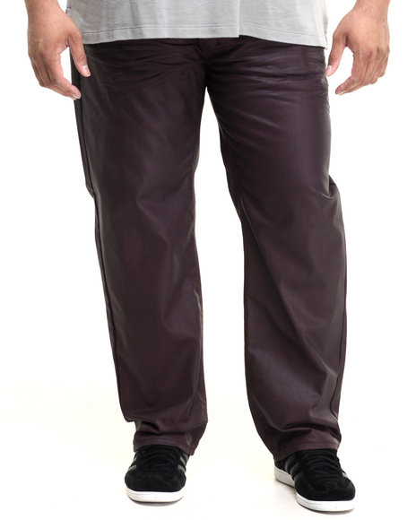 Ur-ID 224219 Akademiks - Men Maroon,Maroon Robertson Wax Coated Denim Jeans