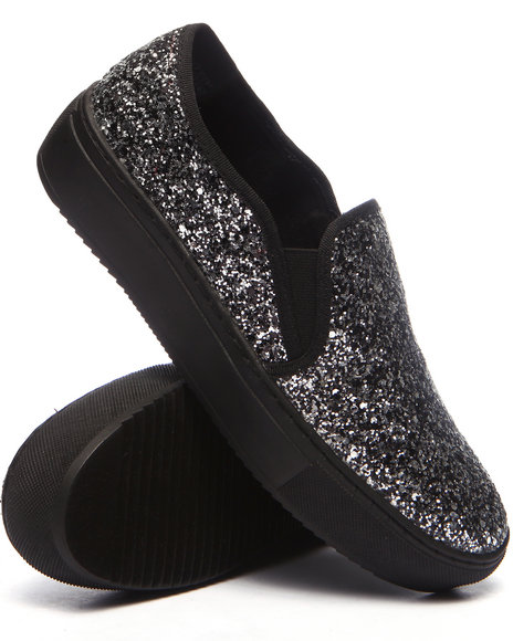 Fashion Lab - Women Silver Groove Glitter Slip On Sneaker